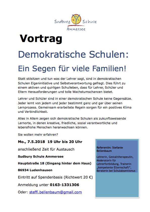 Vortrag demokratische Schulen - eine Segen für viele familien